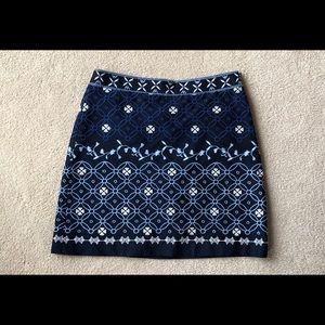 LOFT Blue Embroidered Mini Skirt